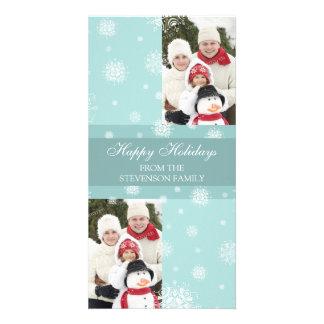 Happy Holidays Double Photo Card Blue Snow