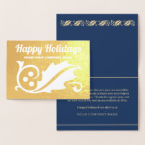 Happy Holidays Elegant Holly Business Gold Real Foil Card