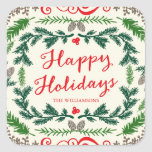 Happy Holidays Elegant Pine Gift Tag Stickers