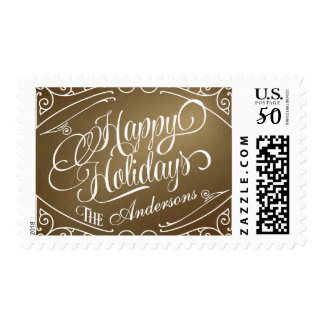 Happy Holidays Elegant Vintage Christmas Postage