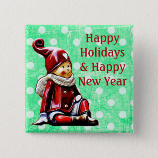 Happy Holidays Elf Green Polka Dot Christmas Butto Button