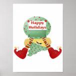 Happy Holidays Elf Print