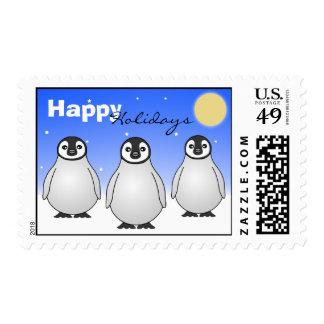 Happy Holidays Emperor Penguin Postage Stamp
