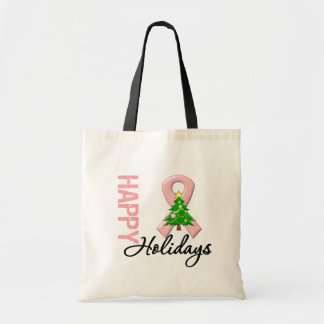 Happy Holidays Endometrial Cancer Awareness Canvas Bags