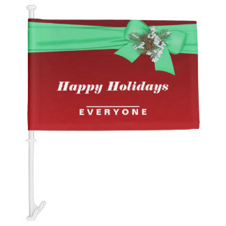 Happy Holidays Everyone Bow Car Flag