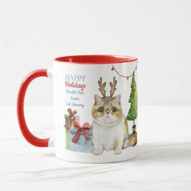 Happy Holidays EXOTIC Cat Mom Custom Christmas Mug