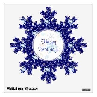 Happy Holidays Falling Snow Christmas Decoration Wall Sticker