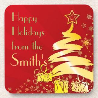 Happy Holidays  Family Christmas Tree Coaster