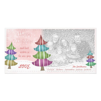 Happy Holidays Family Christmas Whimsical Trees Card