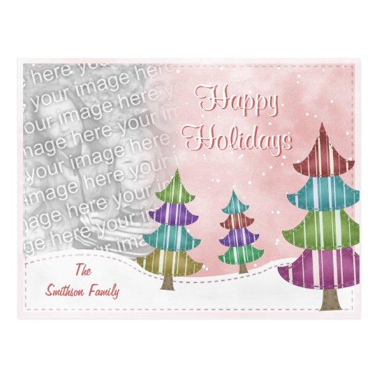 Happy Holidays Family Christmas Whimsical Trees Postcard