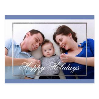Happy Holidays Family Fake Silver Border Card
