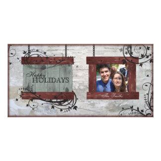 Happy Holidays Family Photo Card - Barn Board
