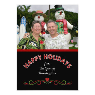 Happy Holidays Family Photo Card Black