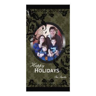 Happy Holidays Family Photo Card - Green & Black