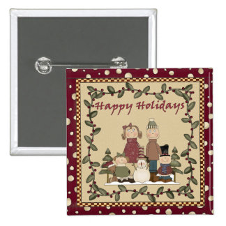 Happy Holidays Family Pinback Buttons