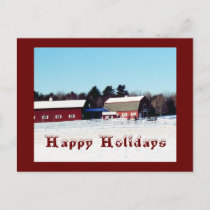 Happy Holidays Farm Holiday Postcard