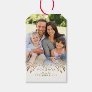 Happy Holidays Faux Gold Foil Holly Photo Tag