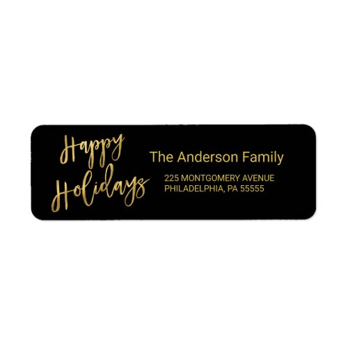 Happy Holidays Faux Gold Foil Look Return Address Label
