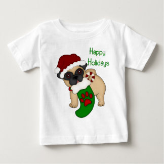 Happy Holidays Fawn Pug with Stocking Baby T-Shirt