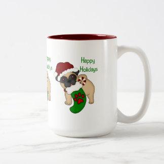 Happy Holidays Fawn Pug with Stocking Two-Tone Coffee Mug