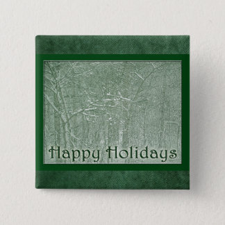 Happy Holidays February Snow Storm Pinback Button