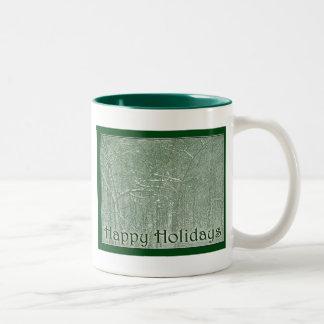 Happy Holidays February Snow Storm Two-Tone Coffee Mug