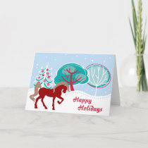 Happy Holidays Festive Horse Snowy Christmas Holiday Card