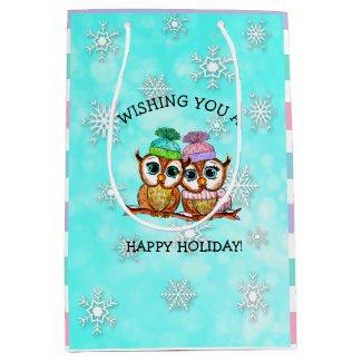Happy Holidays, Festive Owls with Snowflakes Medium Gift Bag