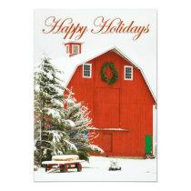 Happy Holidays - Festive red barn in fresh snow Card