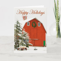 Happy Holidays - Festive red barn in fresh snow Holiday Card