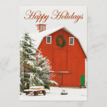 Happy Holidays - Festive red barn in fresh snow Holiday Card