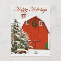 Happy Holidays - Festive red barn in fresh snow Holiday Postcard