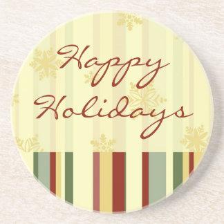 Happy Holidays Festive Stripes Coasters