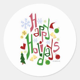 Happy Holidays Festive Style Classic Round Sticker