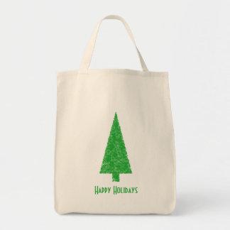 Happy Holidays. Festive Tree. Green Fir. Bag