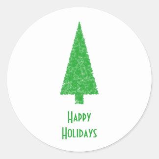 Happy Holidays. Festive Tree. Green Fir. Classic Round Sticker