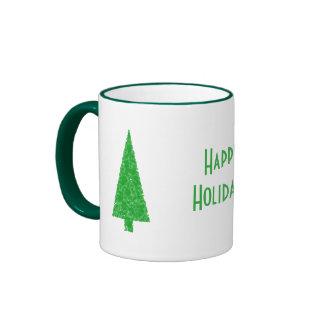 Happy Holidays. Festive Tree. Green Fir. Mugs