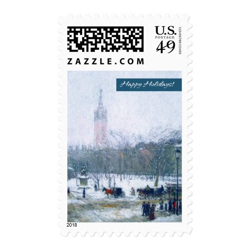 Happy Holidays. Fine Art Christmas Postage Stamps