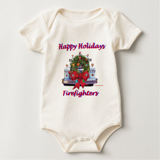 Happy Holidays Firefighters Baby Bodysuit