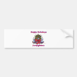 Happy Holidays Firefighters Car Bumper Sticker