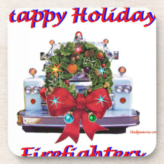 Happy Holidays Firefighters Coaster