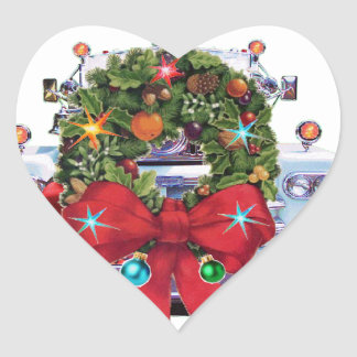 Happy Holidays Firefighters Heart Sticker