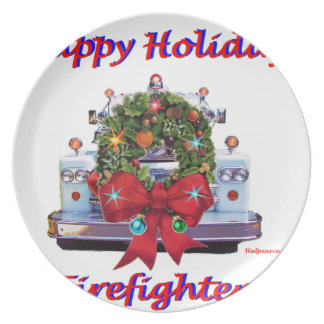 Happy Holidays Firefighters Plate