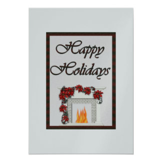 Happy Holidays Fireplace Silver Card