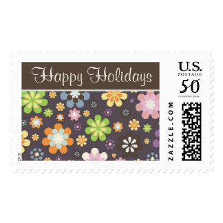 Happy Holidays Floral Postage Stamp