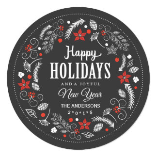 HAPPY HOLIDAYS FLORAL WREATH HOLIDAY PHOTO INVITATION