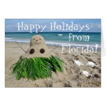 Happy Holidays Florida Christmas Snowman Sandman Greeting Card