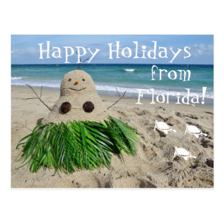 Happy Holidays Florida Christmas Snowman Sandman Post Card