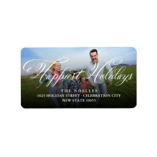 Happy Holidays Flourish Script Modern Photo Labels