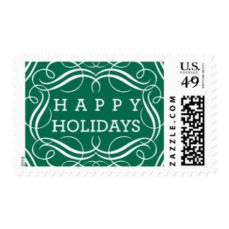 Happy Holidays Flourished Postage